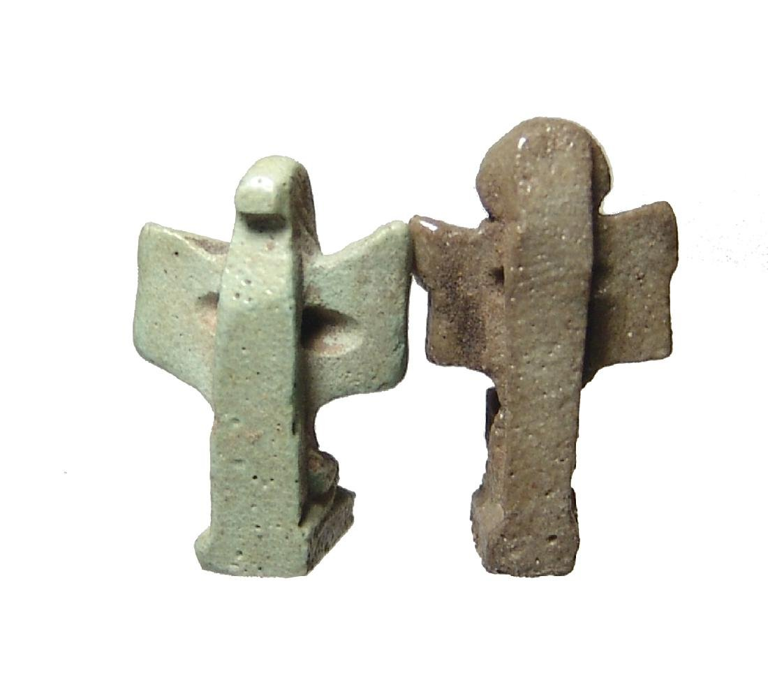 A pair of nice Egyptian faience amulets of Shu - 3