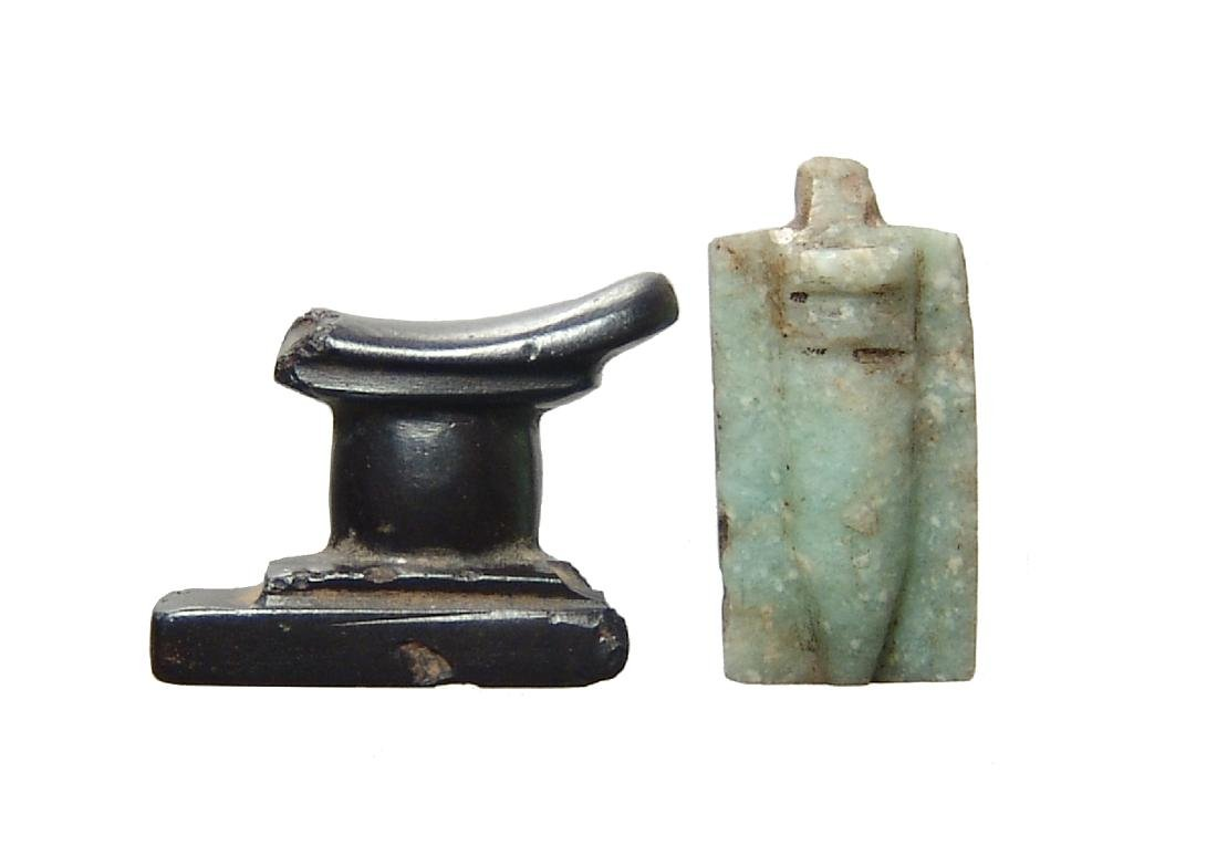 A pair of Egyptian stone amulets, Late Period