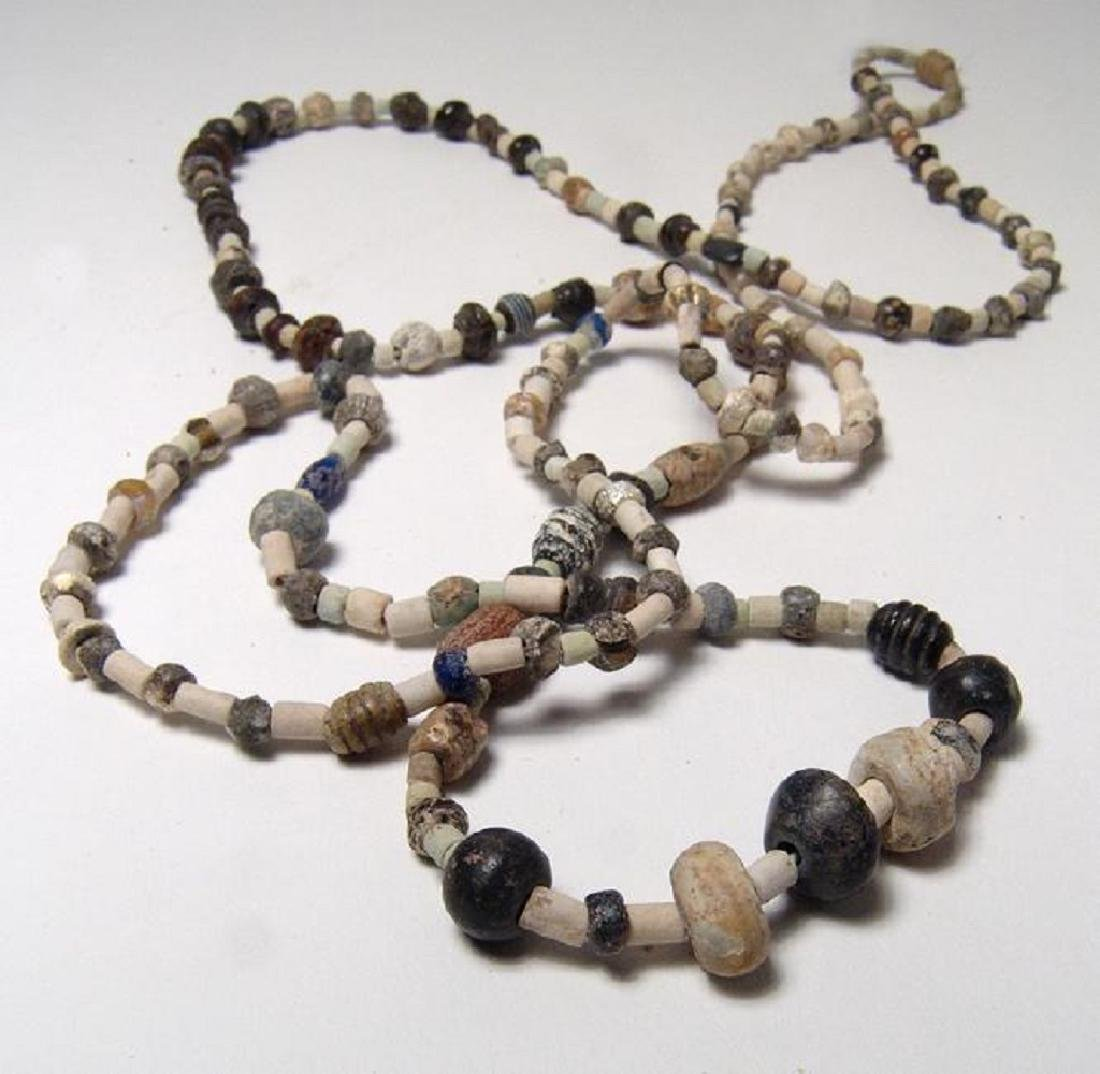 Strand of mixed ancient stone, glass, and faience beads - 2