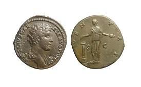 Bronze sestertius of Roman emperor Marcus Aurelius