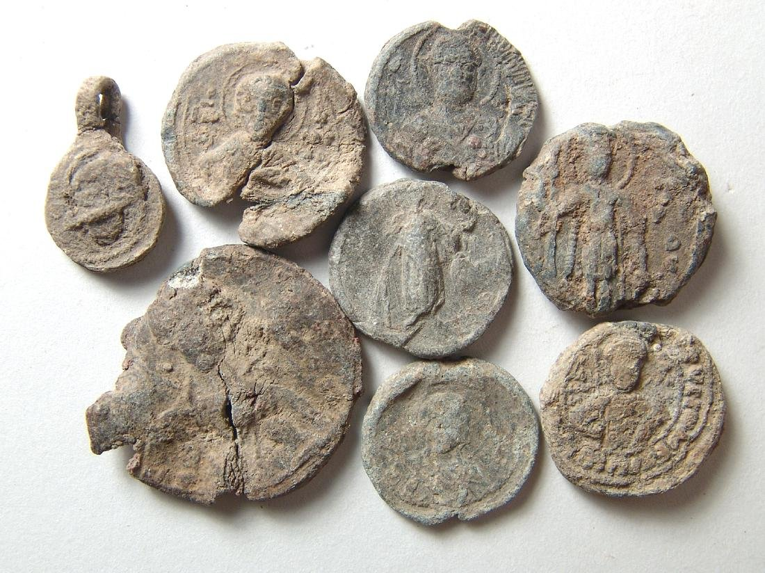 A group of 10 Byzantine lead bullae and tokens