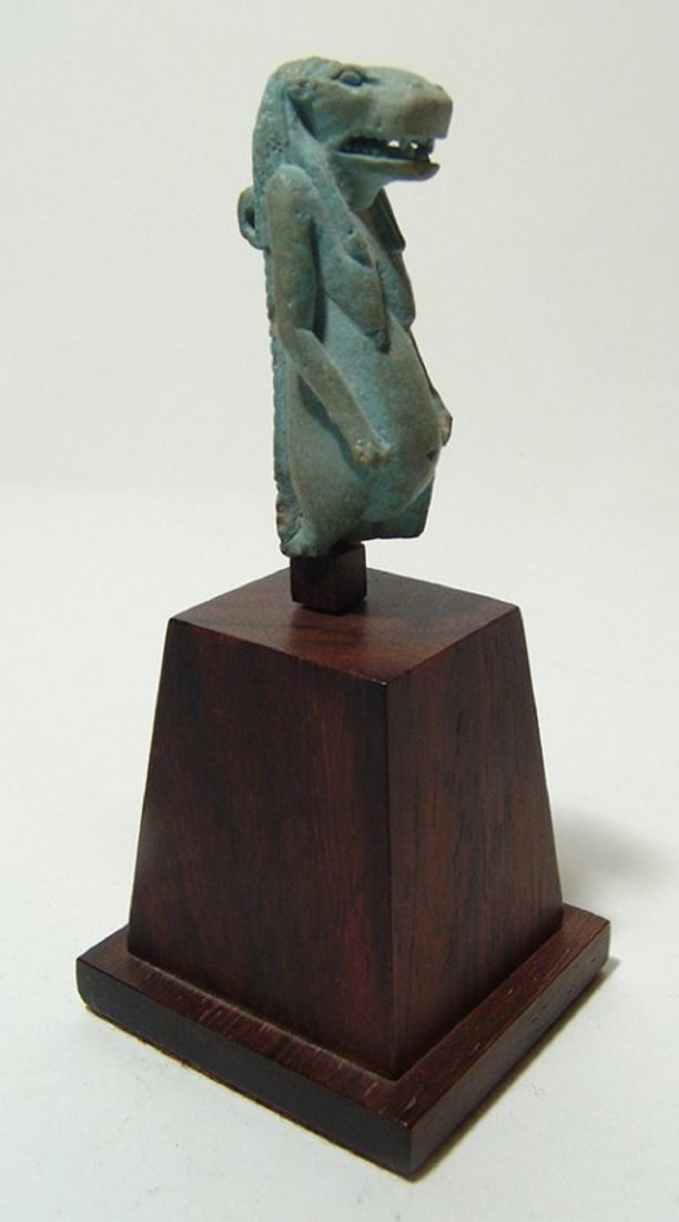 Stunning Egyptian faience amulet of the goddess Taweret - 2