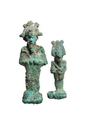 A pair of Egyptian bronze figures of Osiris