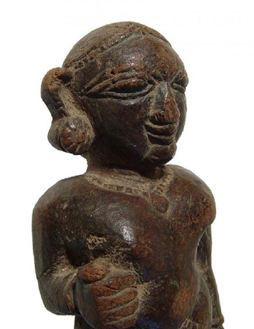 An Indian wooden figure of a Yaksha - 5