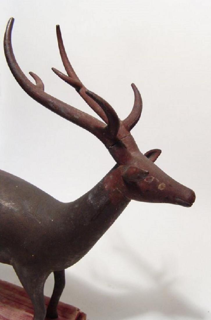 An wonderful antique bronze figure of a stag - 2