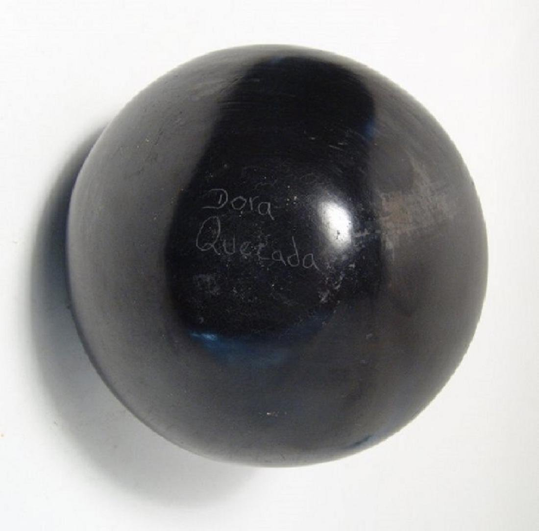 A lovely black on black olla by Dora Quezada - 4