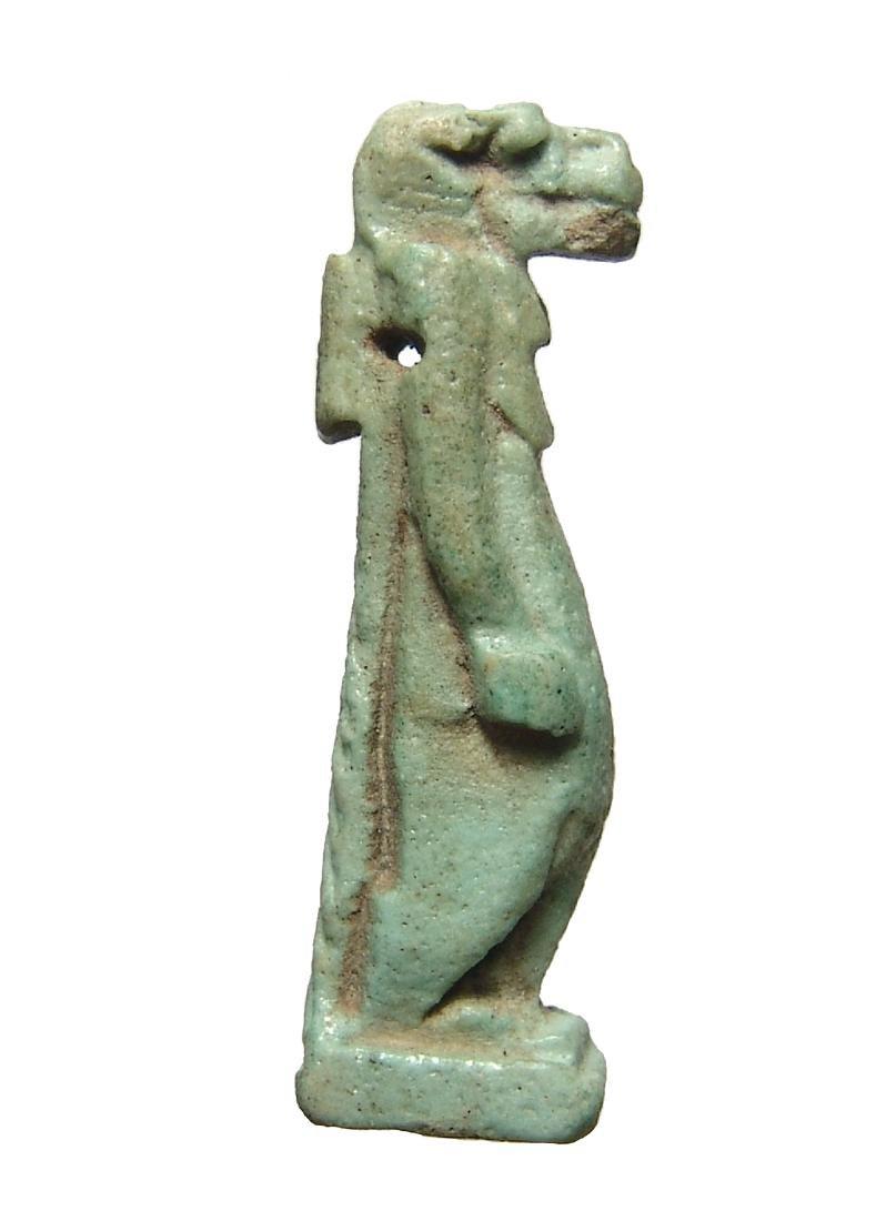 Large Egyptian green-glazed faience amulet of Taweret