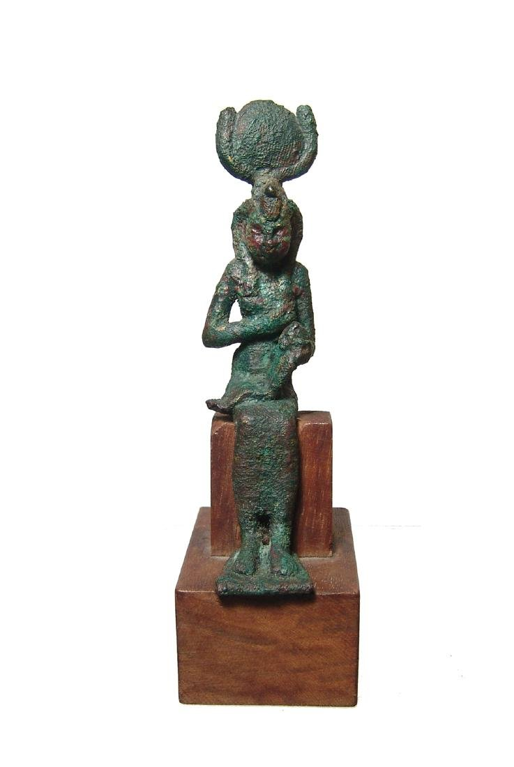A nice Egyptian bronze figure of Isis, Late Period