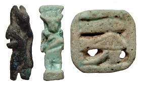 Lot of 3 Egyptian bronze and faience items, Late Period