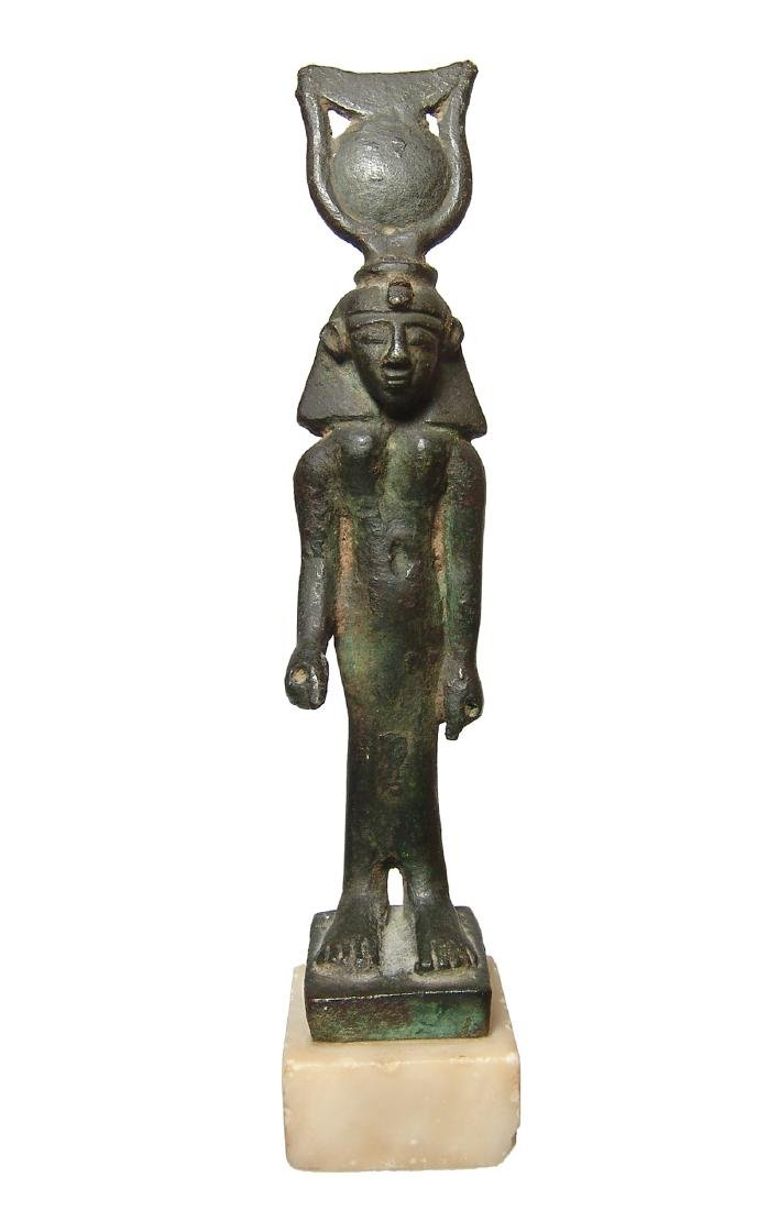 Important Egyptian bronze figure of Khonsu, Late Period