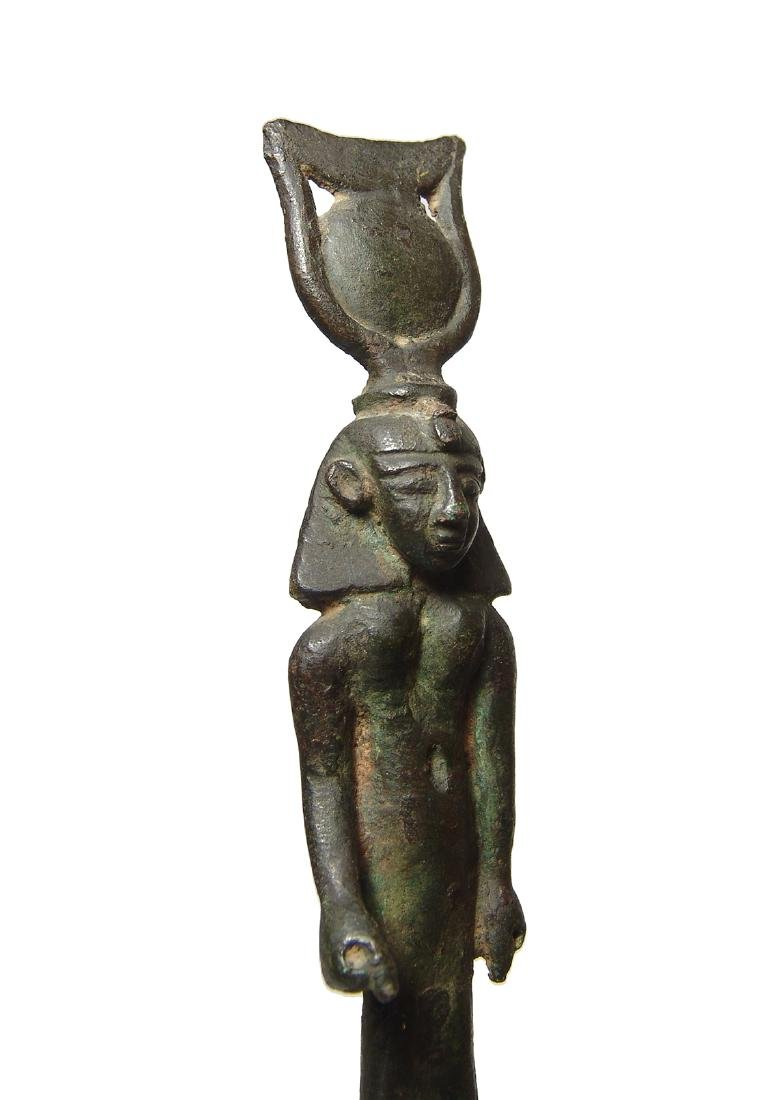 Important Egyptian bronze figure of Khonsu, Late Period - 3