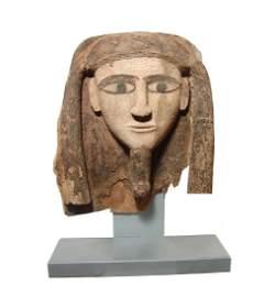 Wonderful Egyptian wood 'mummy' mask, Late Period