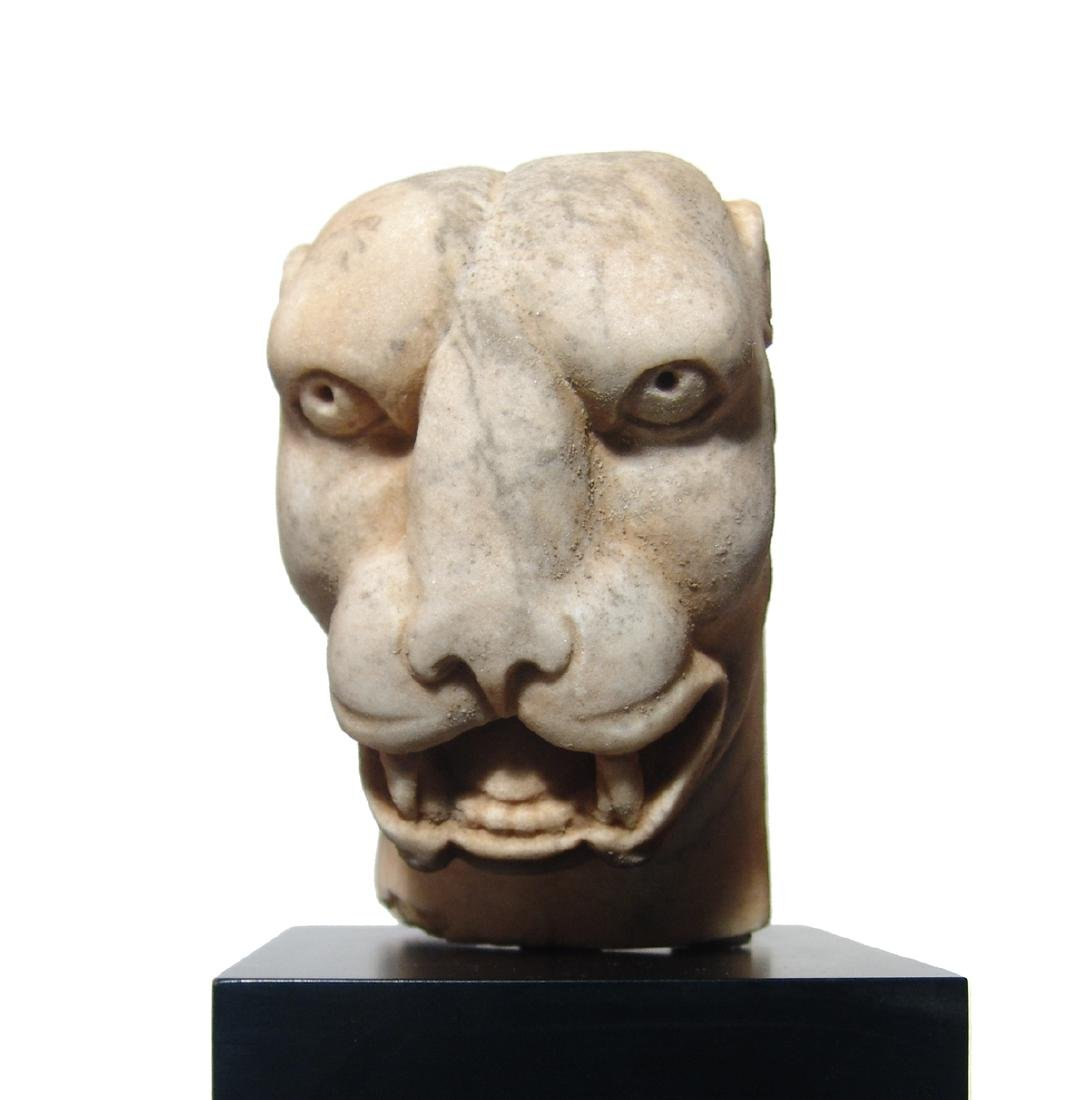 A stunning Roman marble head of a panther - 2