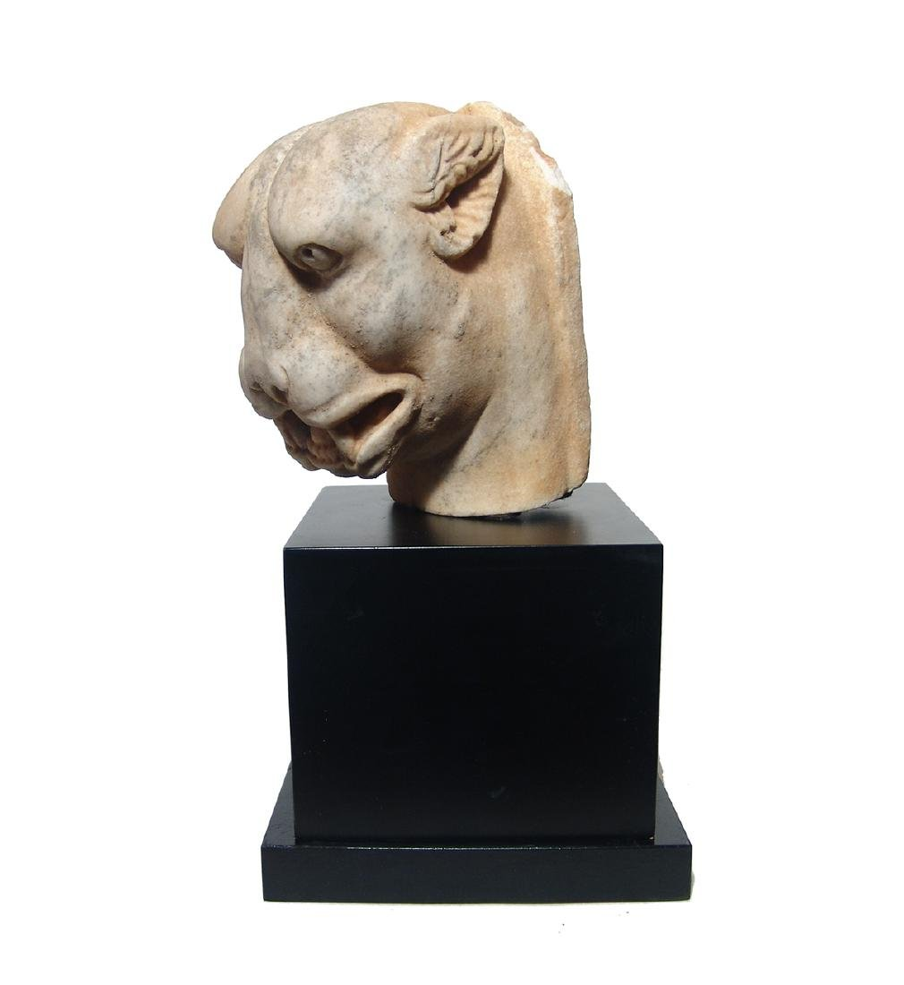 A stunning Roman marble head of a panther - 3