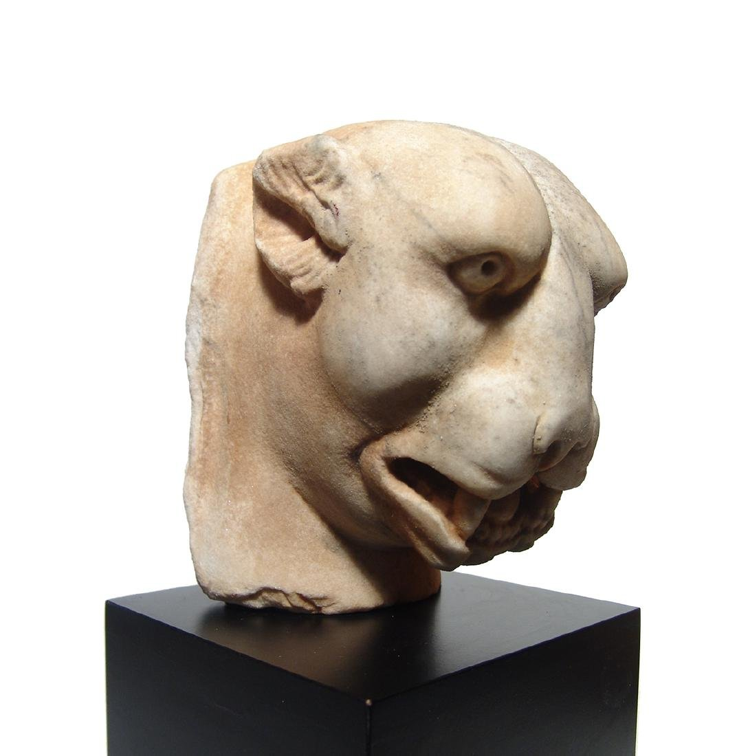 A stunning Roman marble head of a panther - 5