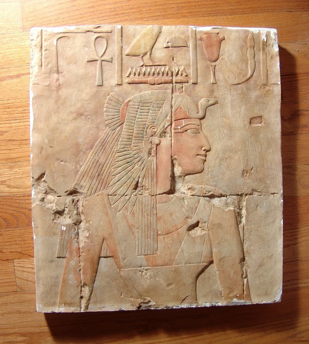 Egyptian style plaster wall hanging of Queen Ahmose