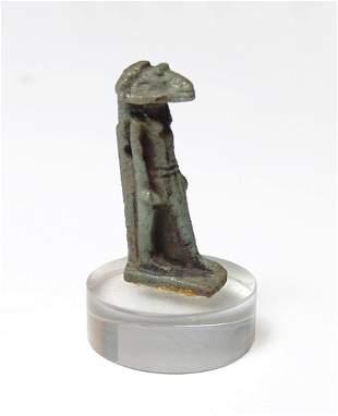 Egyptian green glazed faience amulet of Khnum