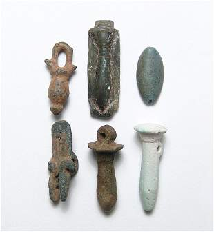 Group of 6 Egyptian stone and faience amulets
