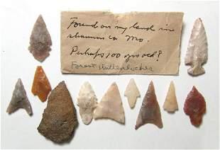 A group of Native American stone arrowheads