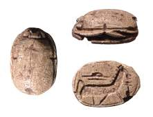 Egyptian steatite scarab with horse New Kingdom