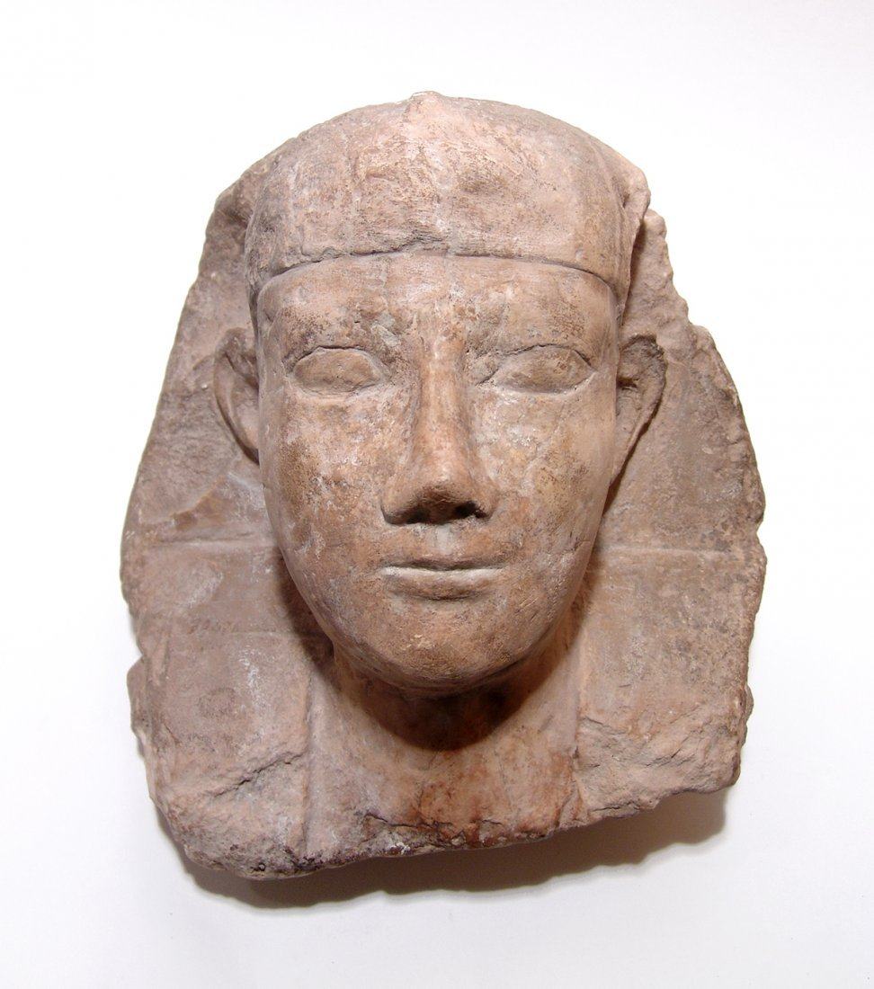 Egyptian limestone head from a sphinx, Ptolemaic