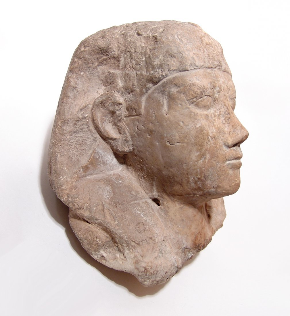 Egyptian limestone head from a sphinx, Ptolemaic - 2