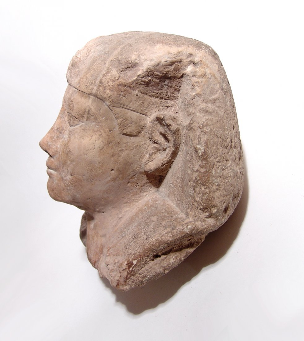 Egyptian limestone head from a sphinx, Ptolemaic - 3