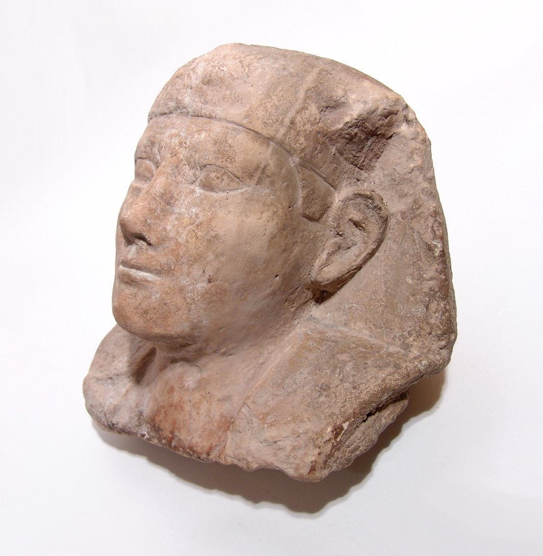 Egyptian limestone head from a sphinx, Ptolemaic - 4