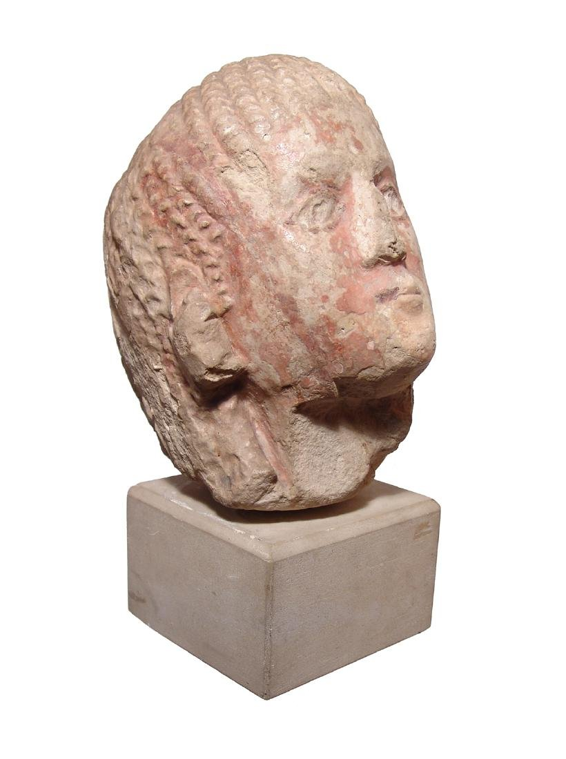Etruscan painted limestone life-sized head of a man