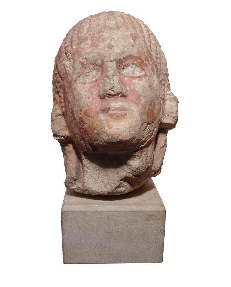 Etruscan painted limestone life-sized head of a man - 2