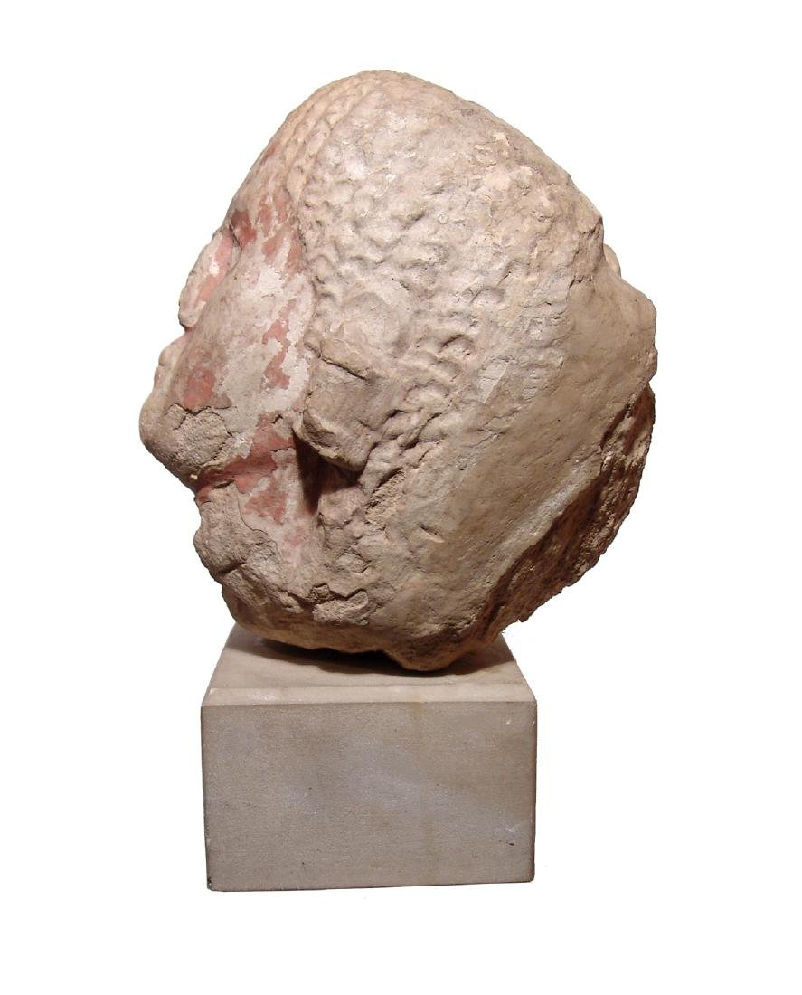 Etruscan painted limestone life-sized head of a man - 4
