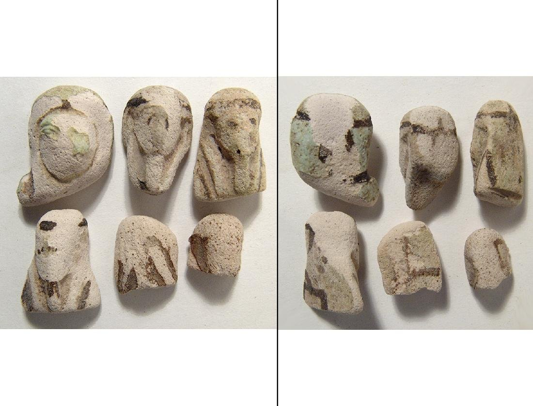 A lot of 6 Egyptian faience heads from ushabtis