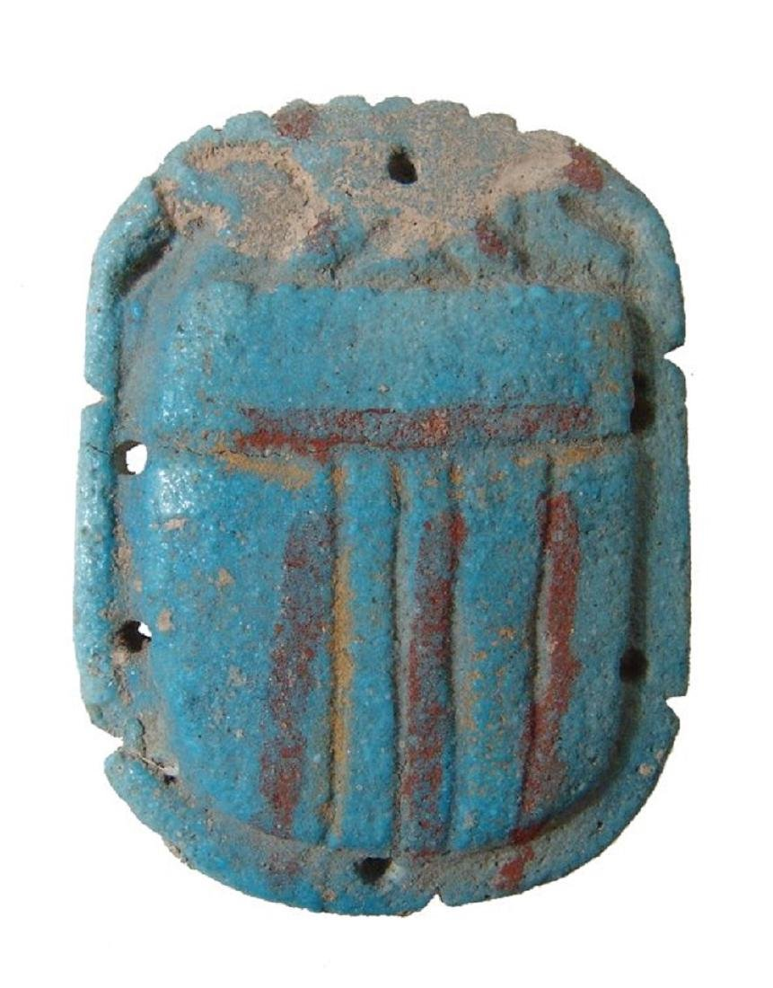 A large Egyptian faience pectoral scarab