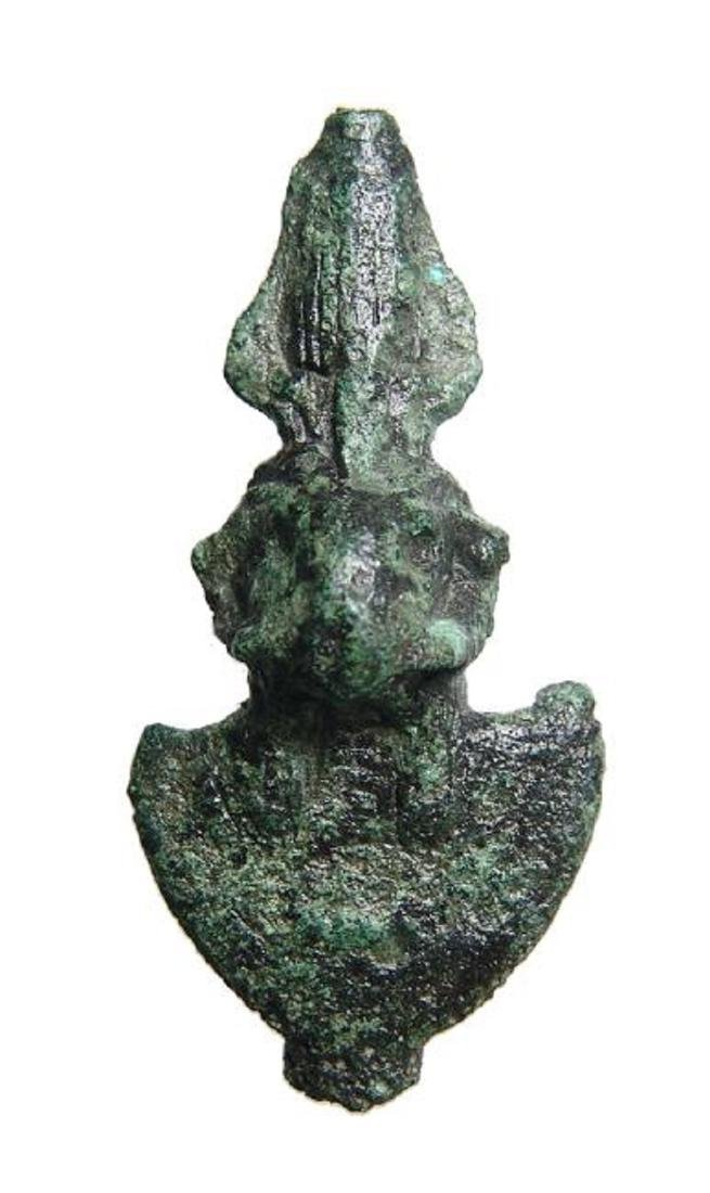 An attractive Egyptian bronze aegis of Khnum