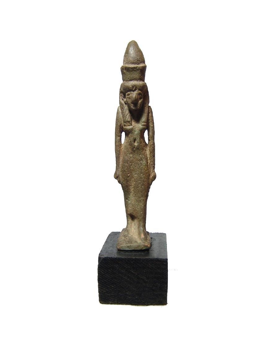 Beautiful Egyptian faience amulet of the goddess Mut