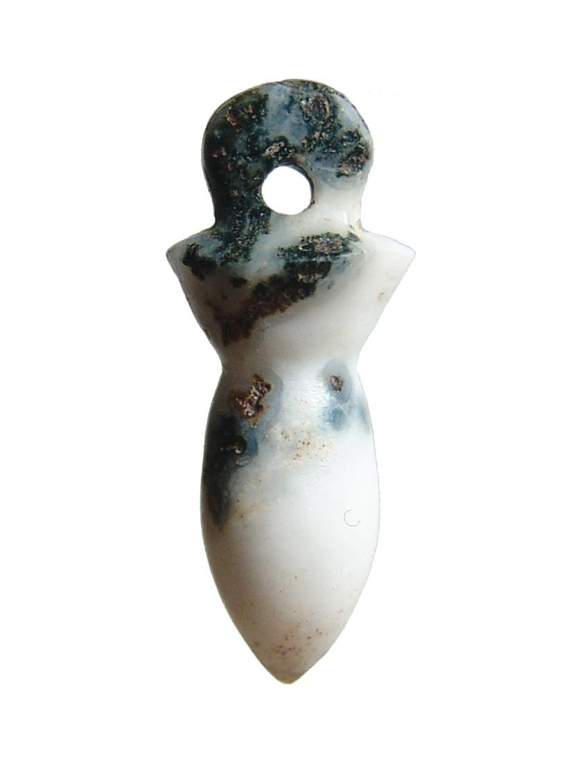 Egyptian diorite papyrus sceptre amulet, Late Period