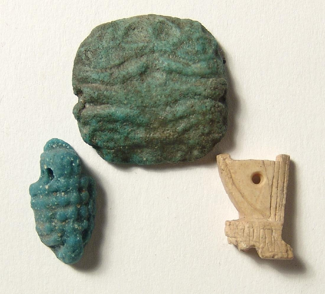 A group of 3 Egyptian amulets