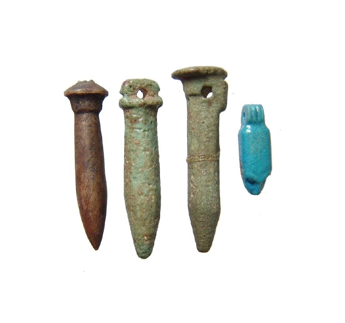 A lot of 4 Egyptian faience amulets