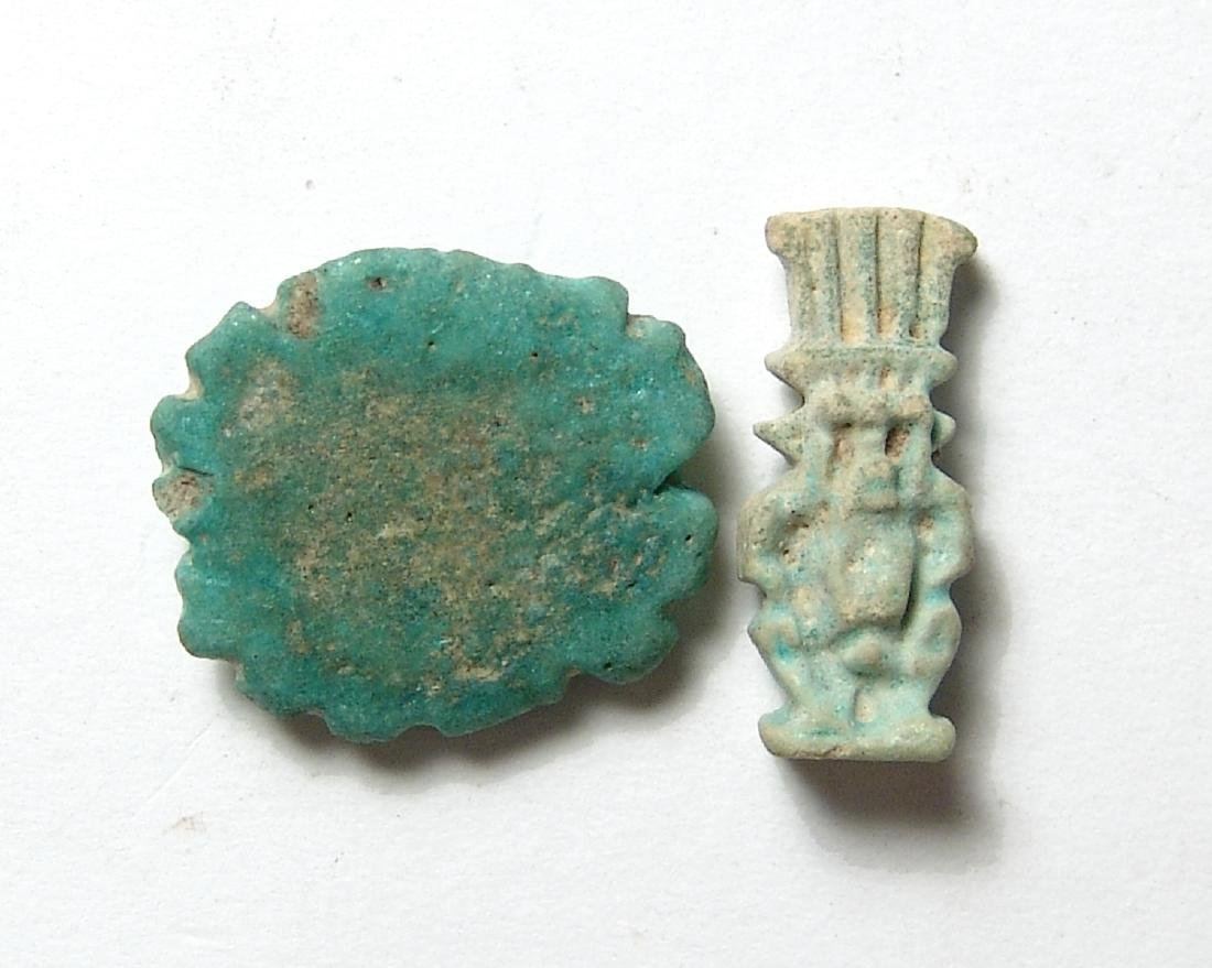 A pair of Egyptian faience amulets, Late Period - 2