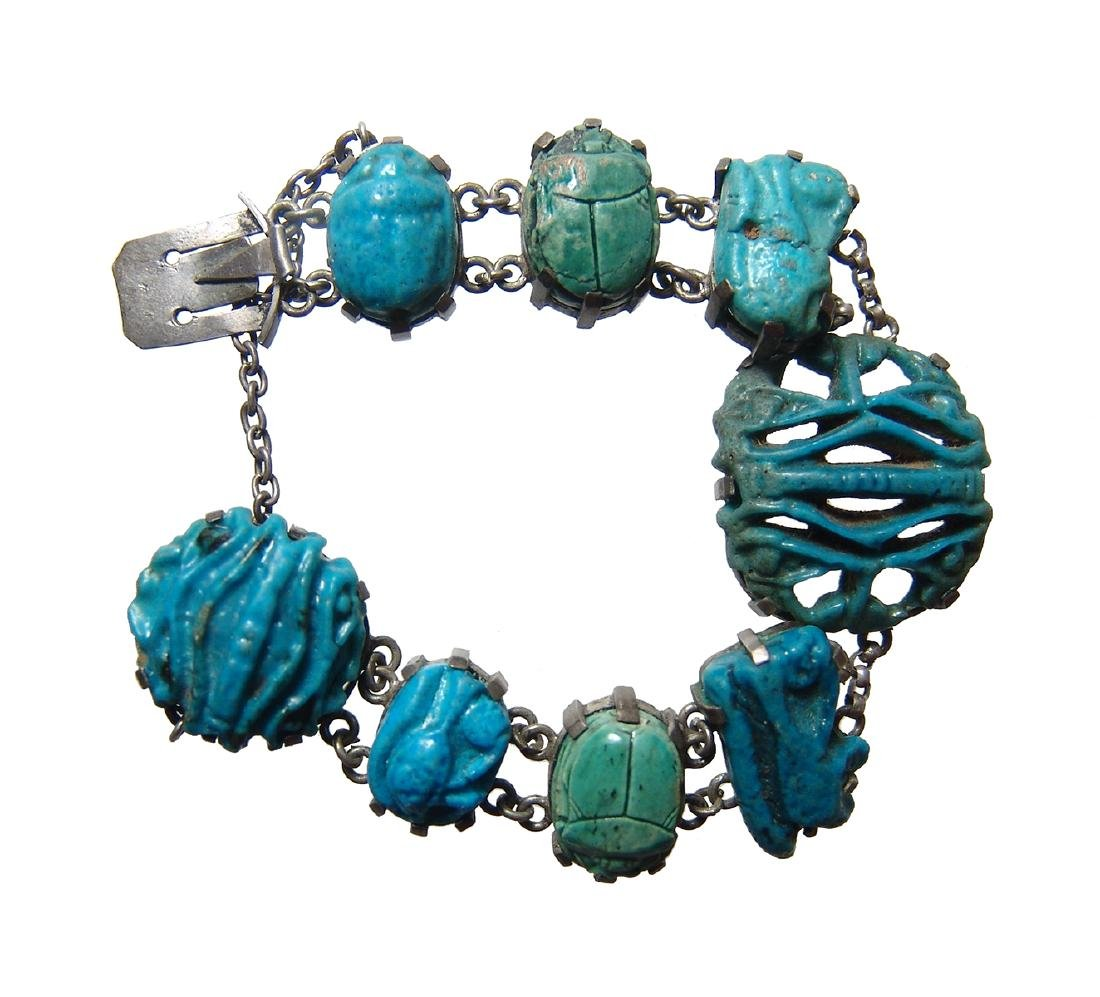 Beautiful silver bracelet with Egyptian amulets &