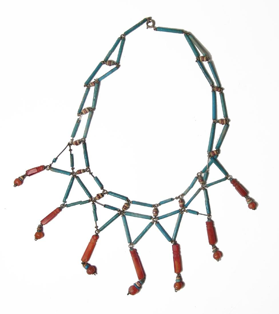 Lovely necklace of Egyptian faience & carnelian beads