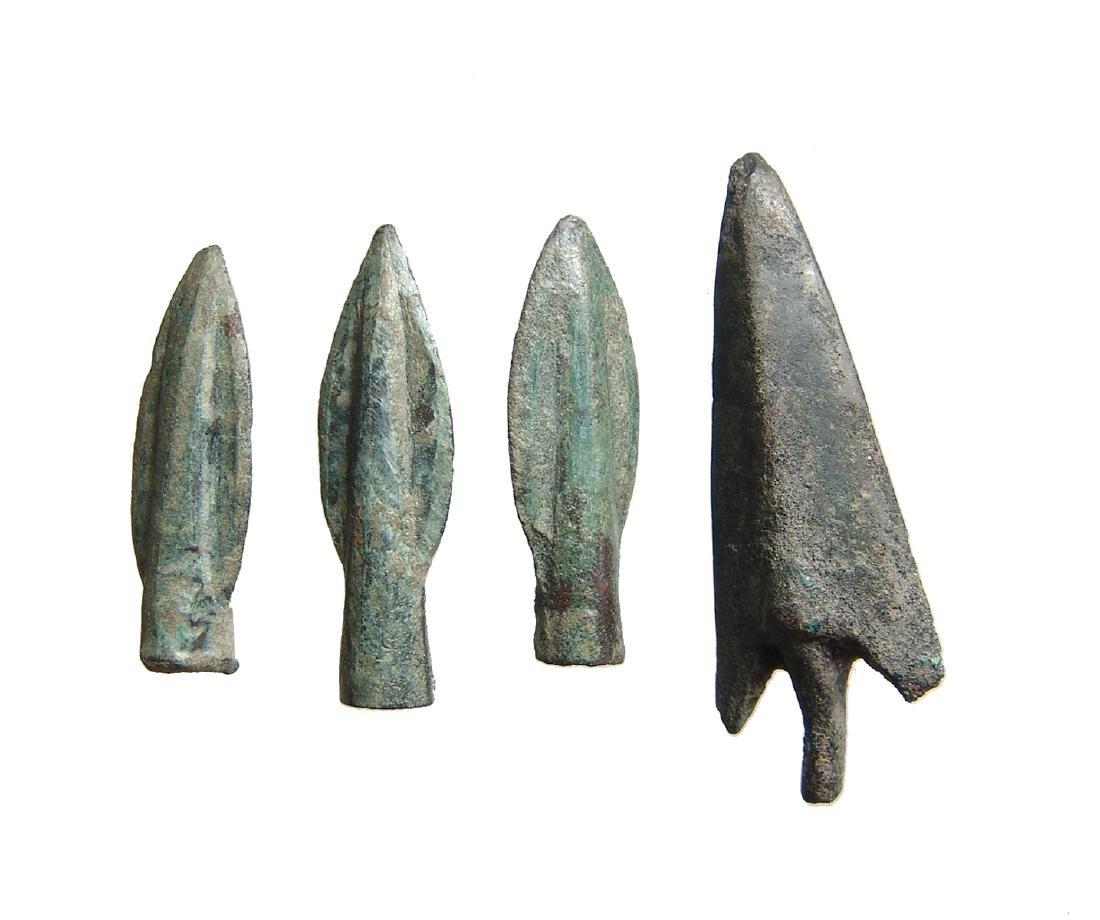 A group of 4 Greek bronze arrowheads