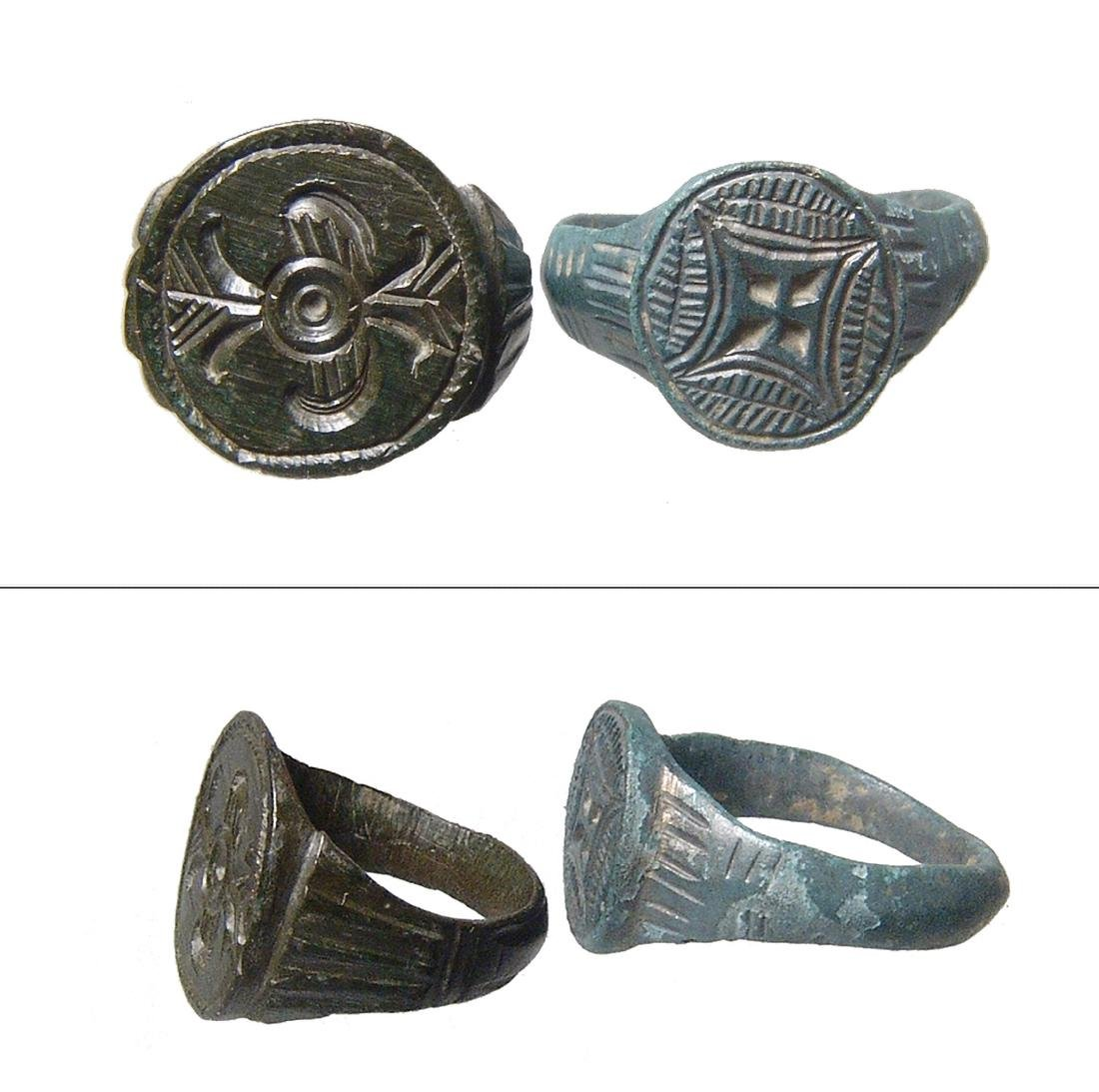 A pair of bronze rings, Roman - Medieval