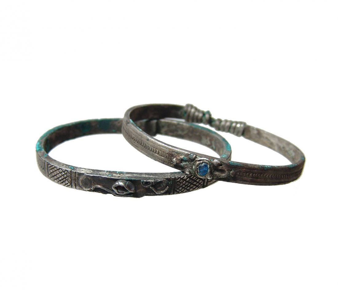 A pair of two Medieval silver bracelets