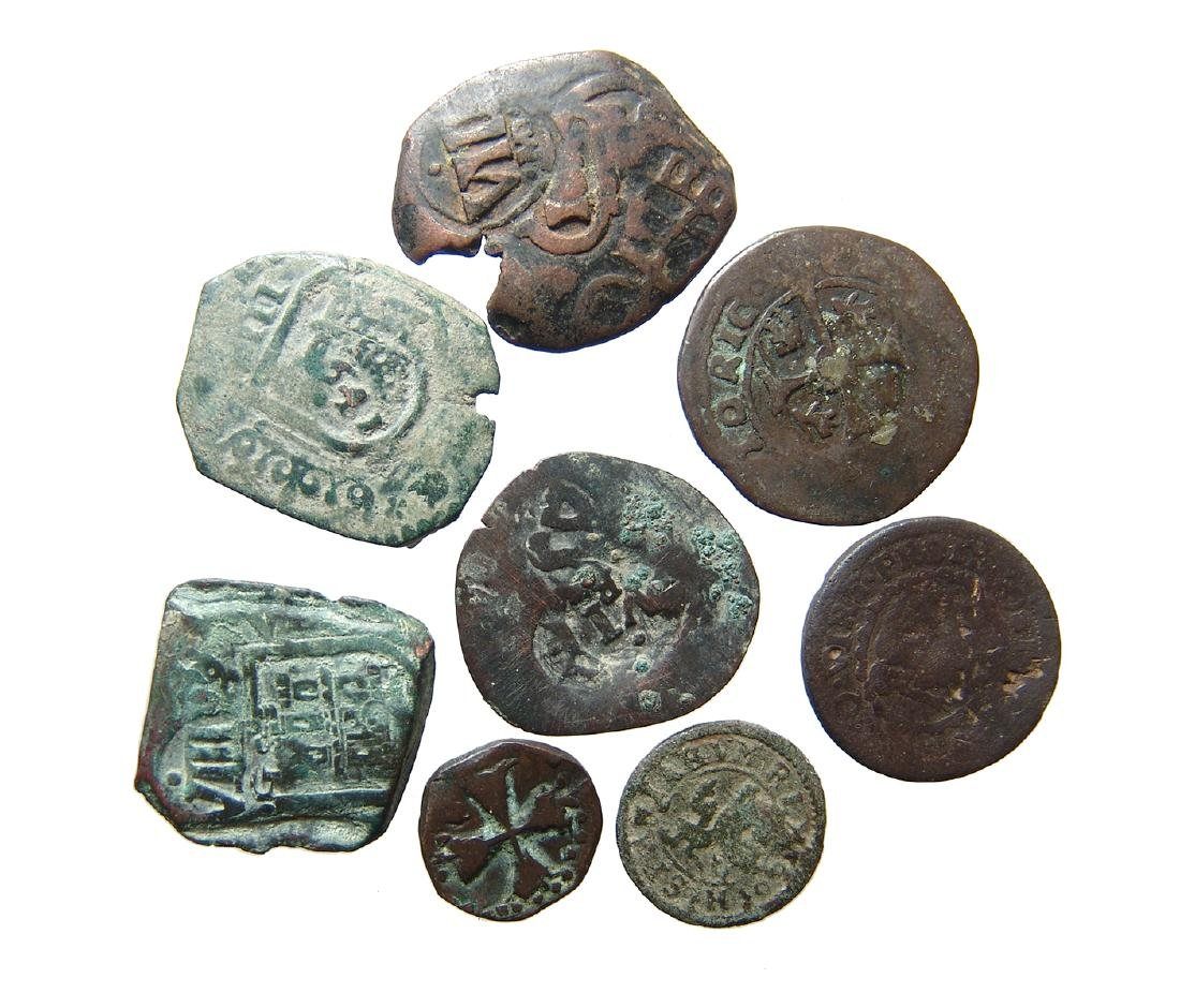 A lot of 8 Spanish copper 'pirate' coins