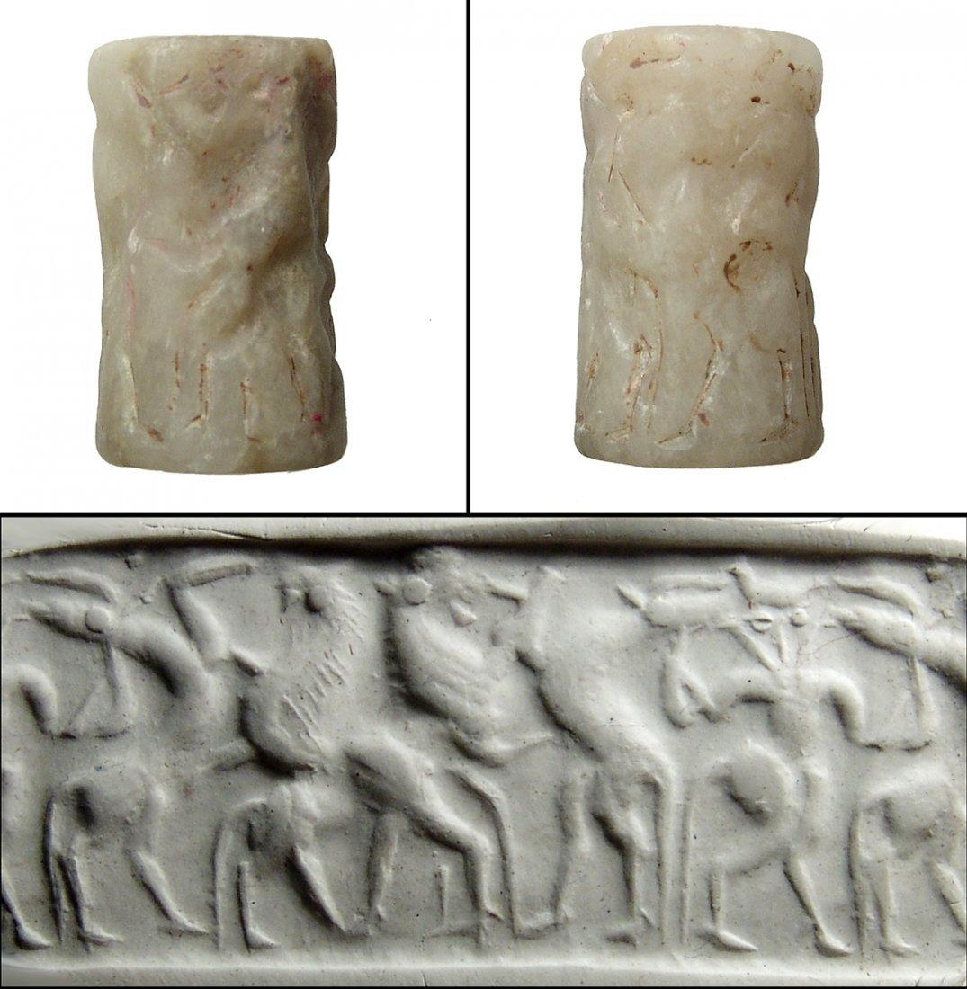 An Akkadian alabaster cylinder seal
