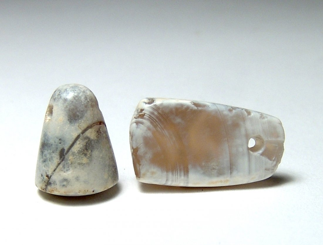 Pair of Neo-Babylonian chalcedony stamp seals