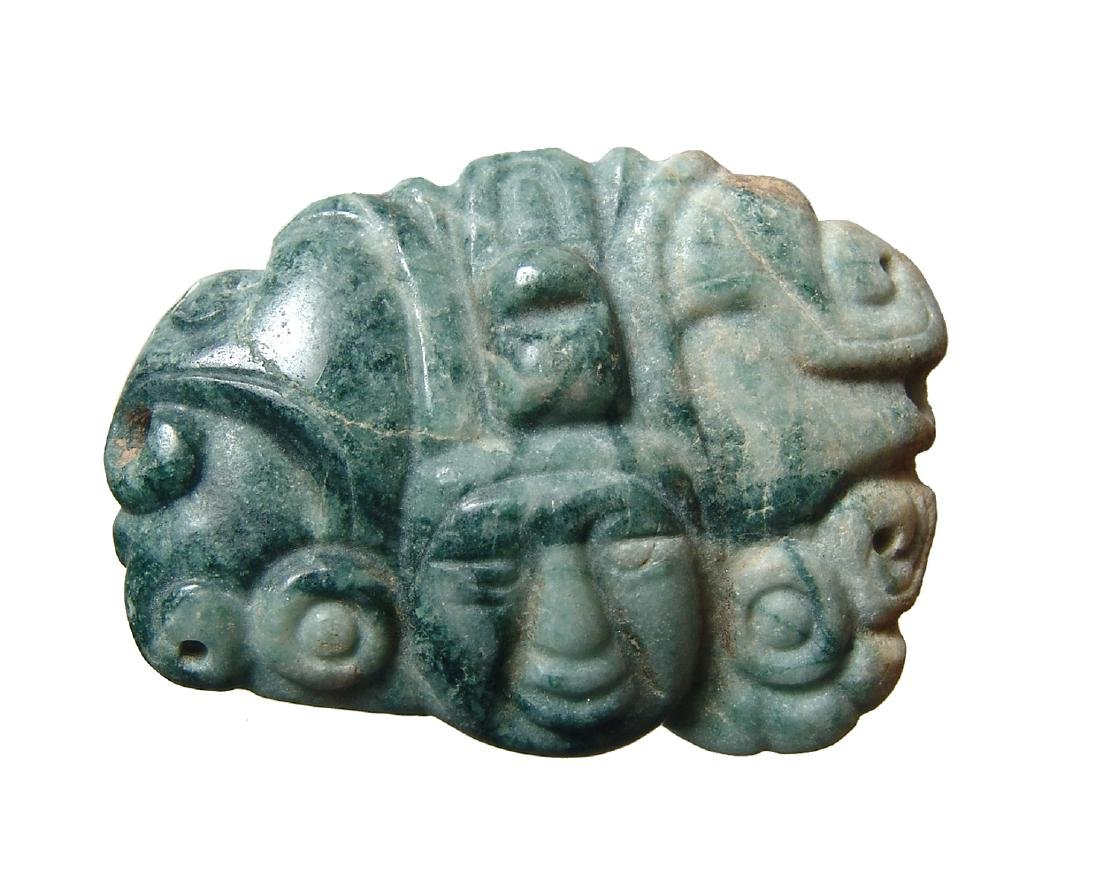A lovely Mayan jade pendant in the form of a head