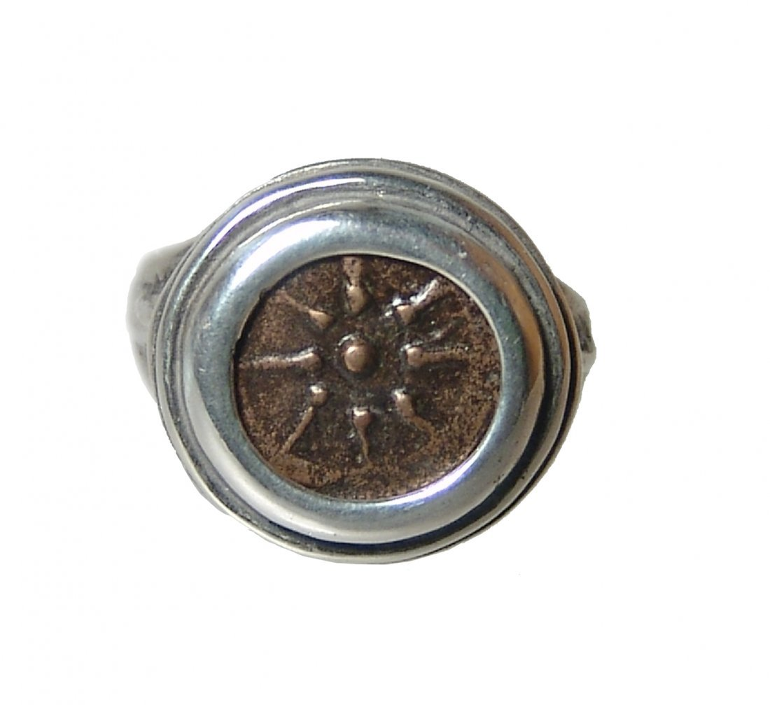 Biblical Widow's Mite set into silver ring
