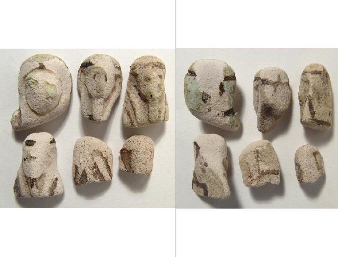 Interesting group of 6 Egyptian faience ushabti heads